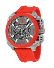 Diesel DZ7368 BAMF Gunmetal Ion Red Silicone Band Chronograph 56MM NEW AUTHENTIC