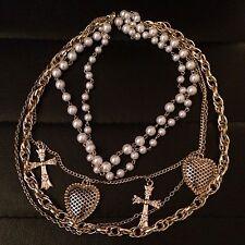 ! oferta! cadena Collar Corazón Cruz de múltiples Vintage Perla Y Regalo
