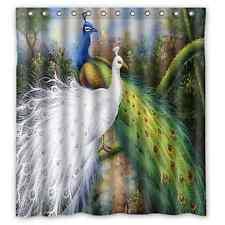 Beautiful Durable Peacock Feather Bathroom Waterproof Shower Curtain 66 x72 Inch