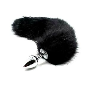 "Black Fox Dog 17"" Tail With Stainless Steel Plug #92 Roleplay Fun Kitty Cosplay"