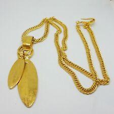 Authentic Rare Vintage Chanel Large CC Logo Gold Necklace Pendant Chain