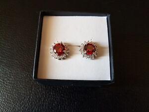 Silver Ruby & CZ Flower Sun Stud Earrings