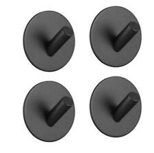 3M Self -Stick 4PCS Black Plated Robe Towel and Coat Hook Round Hanger SUS 304