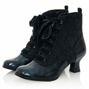 Ruby Shoo Beth Block Heeled Shoe Boot Midnight
