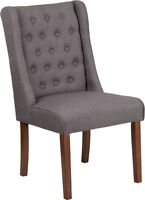 Mid Century Retro Design Gray Fabric Accent Dining Tufted Parsons Chair