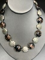 "Vintage Bohemian Southwestern Art Glass Beaded Bib Statement Necklace 18"""