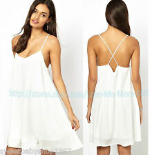 Womens Summer Clubwear Casual Spaghetti Strap Above Knee Swing Dress White  XL