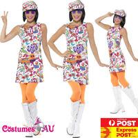 Ladies 60s Groovy Chick Costume Disco 70s Retro Hippie Go Go Dance Fancy Dress