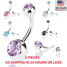 Belly Button Ring 5 PCS Crystal Rhinestone Ball Navel Dangle Bar Body Piercing