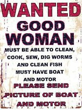 WANTED GOOD WOMAN METAL SIGN RETRO VINTAGE STYLE SMALL