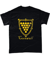 Cornish Shield County of Cornwall Gold UNISEX Distressed Effect T Shirt