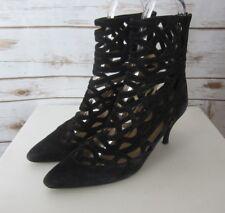 OMBELINE PARIS Womens US 8.5 - 9 Black Suede Leather Zipper Ankle Boot Heels  40