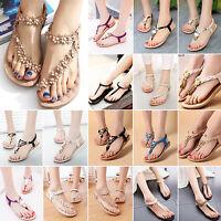 Summer Womens Bohemia Flat Shoes Beach Sandals Thong Toe Slingback Flip Flops