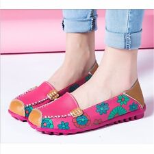 Women Casual Boat Shoes Flats Ballet Leather Loafer Single Work Oxford Round Toe