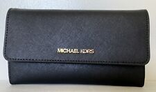 New Michael Kors Jet Set Travel Large Trifold wallet Leather Black with Gold