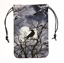 """Shadow Raven Tarot Bag or Pouch 5""""x7"""" Drawstring Dice Runes Crystals"""