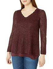 NIC+ZOE Women's V-Neck Long Sleeve Pullover Sweater (Red, M)