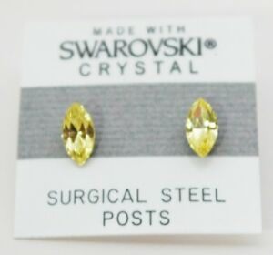 Yellow Oval Stud Earrings 10mm Small Crystal  Made with Swarovski Elements Gift
