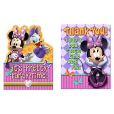 Minnie Mouse Bows Invitations Thank You Postcards Birthday Party Supplies 8 Ct