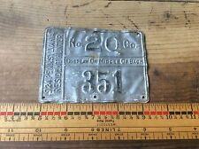 1924  Pennsylvania. Adult Resident Metal Hunting License No. 20 Co. Antique