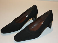 DKNY City Black Fabric Leather Pump Classic Heel Shoes- Size 8 EXCELLENT