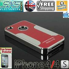Red Chrome Steel Metal Blaze Aluminium Case iPhone 4 4S + Free Screen Protector
