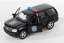 BLITZ VERSAND Chevrolet Tahoe Police 2008 schwarz Welly Modell Auto 1:34 NEU OVP