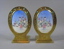 Very Nice Pr Of Old Chinese Painted Enamel & Brass Bookends Beauties Turquoise