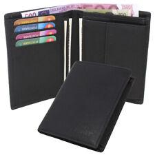 Men's Leather Wallet Purse Purse Wallet Vertical Format Black Thin
