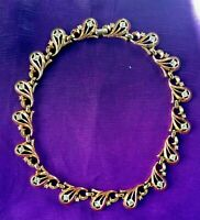 FABULOUS TRIFARI 1949 Rhinestone with Goldtone Necklace, Excellent Vintage Cond.
