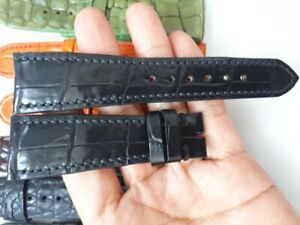 BLACK GENUINE ALLIGATOR CROCODILE LEATHER WATCH STRAP BAND  24/18