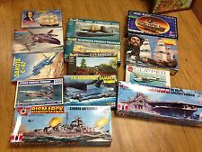 GROUP OF 13 MODEL KITS - AIRCRAFTS, BATTLESHIPS, PIRATE SHIP ETC