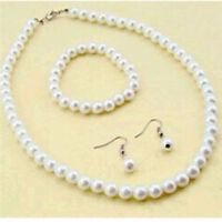 Frauen 1x Natürliche Süßwasser Perlenkette Armband Ohrringe Set SchmucK~`
