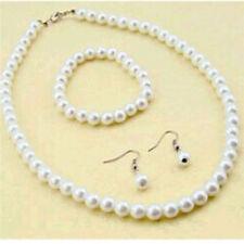 Women Natural Freshwater Pearl Necklace Bracelet Earrings Set Chic Jewellery ##.