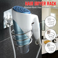 Hair Dryer Rack Storage Organizer Holder Bathroom Hanger Wall Mounted Stand