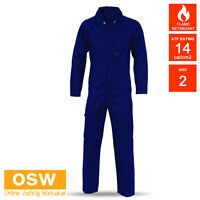 NAVY COTTON DRILL FLAME RETARDANT RESISTANT WELDERS DRILL COVERALLS OVERALLS
