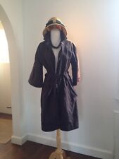 PIAZZA SEMPIONE Italy Metallic Cotton Transitional Trench Coat Pewter Grape 42