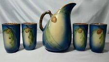 Roseville Pottery BLUE PINE CONE Pattern 5-SET: Ewer / Pitcher + 4 Tumblers 1950