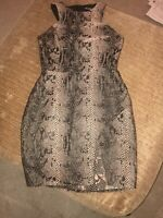 Missguided Black With Gold Shimmer Dress Size UK 8 Animal Print Snake Sleeveless