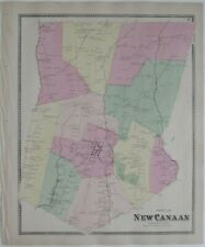 Original 1867 Hand Colored Map NEW CANAAN Millville Fairfield County Connecticut