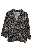 CJ Banks Womens Button Down Shirt Size 2X Black White Paisley Short Sleeve.