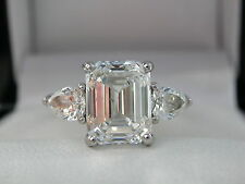 3.03ct Emerald Cut Diamond Ring, Platinum,GIA Cert, H SI1,Pear-Cut Side Diamonds