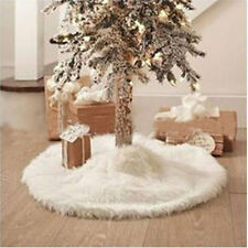 78cm Plush White Snowflake Christmas Tree Skirt Base Floor Mat Cover Gift Decor