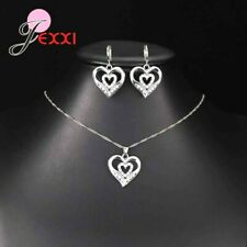 925 Sterling Silver CZ Crystal Heart Pendant And Necklace And Earring Set **UK**
