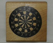 Rare Dartboard Darts Rubber Stamp Game Play Altered Art Collage Wheel Numbers