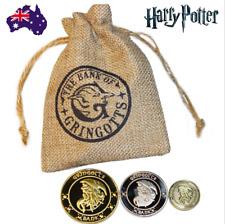 AU Harry Potter Magic Gringotts Wizardi Bank Coins Set 3 Coins in Pouch Props