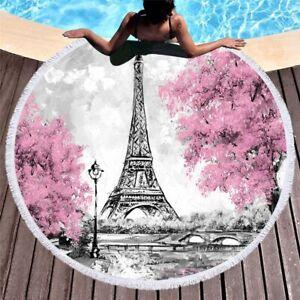 London Paris Eiffel World Famous Tourist Sight City Scenery Fringed Beach Towel