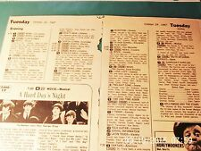 """Beatles Mem: Two 1967 Small TV Guide Art. """"A Hard Day's Night"""" Oct. 24th, Nov.26"""
