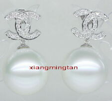 Top 14K GOLD 10-11MM round NATURAL real SOUTH SEA white PEARL Dangle EARRINGS