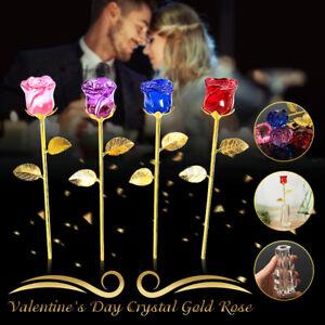 24K Artificial Glass Crystal Gold Rose Dipped Flower Stem Gift Love Valentine ✮